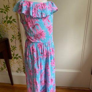 Zara girl pink & blue tropical long jumpsuit 13/14